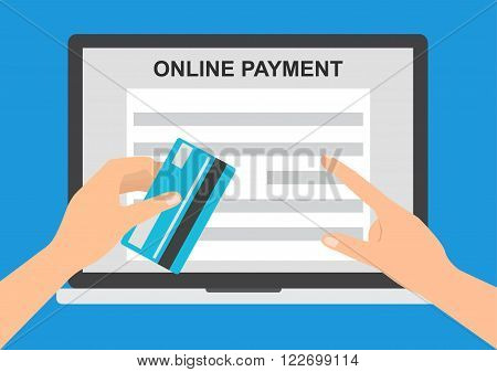 Hand holding credit card for paying in laptop notebook PC with online payment system application software. Flat design E-Commerce omnichannel online shopping concept.