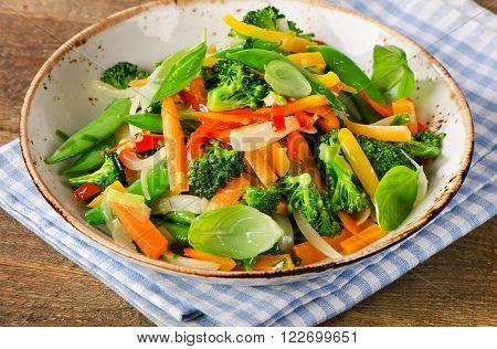 Vegetable Stir Fry On A Plate.