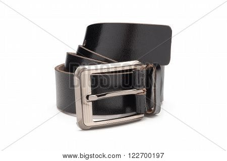 Rolled Black Synthetic Leather Belt