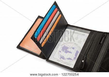 Card Holders And Id Window Of Black Leather Wallet