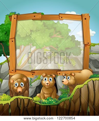 Frame design with three bears at the cave illustration