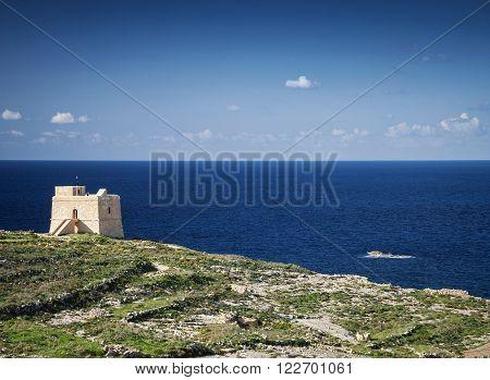 fort and mediterranean coast view of gozo island in malta