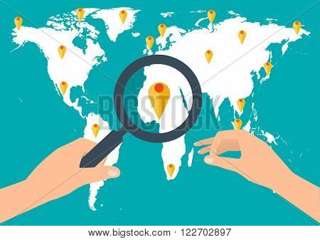 Human hand holding holding magnifying glass for finding the best travel destination in summer holiday on world map. Flat modern design style vector illustration travel concept.