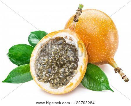 Granadilla fruits on the white background.
