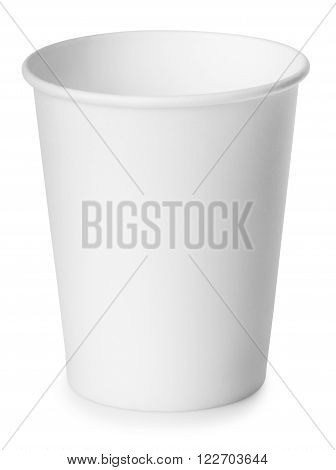 single disposable empty white paper cup isolated on white background with clipping path