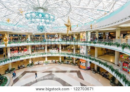 MINSK, BELARUS - June 3, 2014: Stolitsa is a major shopping center in Belarussian capital. SC Stolitsa is situated at the central square of Minsk on Nezavisimosty square.