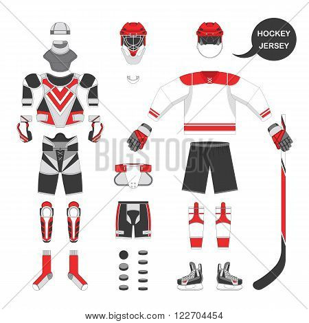 Ice hockey sport equipment set. Vector ice hockey equipment in flat style. Isolated ice hockey equipment on white background. Ice hockey equipment template.
