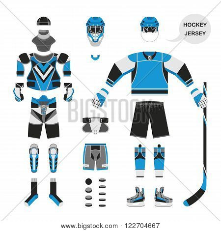 Hockey uniform set. Vector hockey uniform in flat style. Isolated hockey uniform on white background. Hockey uniform template. Hockey attribution clothes equipment and accessories.