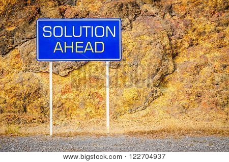 Solution ahead sign showing business concept at cliff