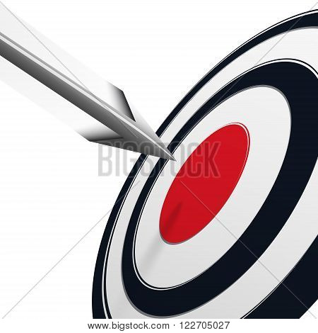 Arrows flying to the center of the black target with red center