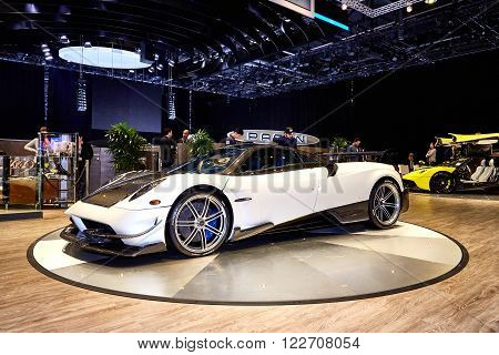 Geneva, Switzerland - February 29, 2016: 2016 Pagani Huayra BC presented on the 86th Geneva Motor Show in the PalExpo