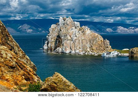 view of the mountain Shamanka Cape Burkhan island Olkhon Russia