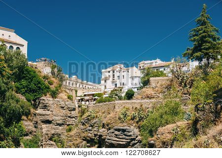 Ronda, Province Of Malaga, Spain. The Tajo De Ronda Is A Gorge Carved By The Guadalevin River