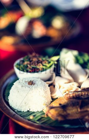 Indonesian cuisine - Typical rice dish. Close-up, toned image ** Note: Visible grain at 100%, best at smaller sizes