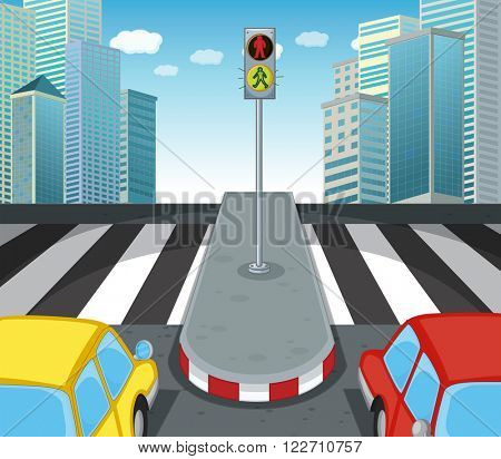 Zebra crossing on the road illustration