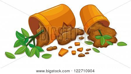 Vandalism scene with two broken pots illustration