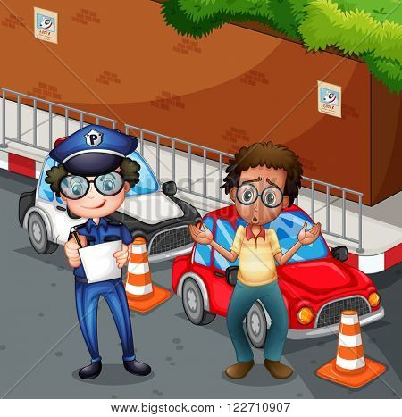 Policeman at the accident scene illustration