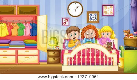 Three kids sleeping in the bedroom illustration