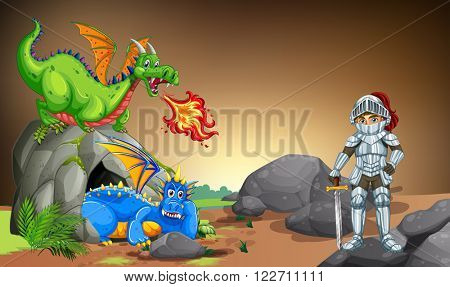 Knight with two dragons in the cave illustration