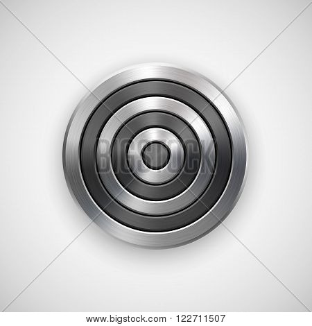 Abstract circle geometric badge, technology perforated button template with metal texture, chrome, silver, steel and realistic shadow for logo, design concepts, interfaces, apps. Vector illustration.