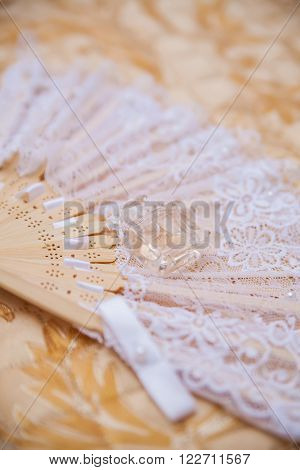 bride's accessories for wedding. lace and perfume