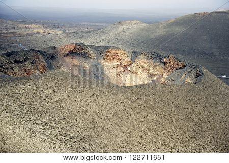 The barren volcanic landscape of Parque Nacional de Timanfaya in Lanzarote.