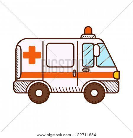 Ambulance car isolated on white background. Vector illustration