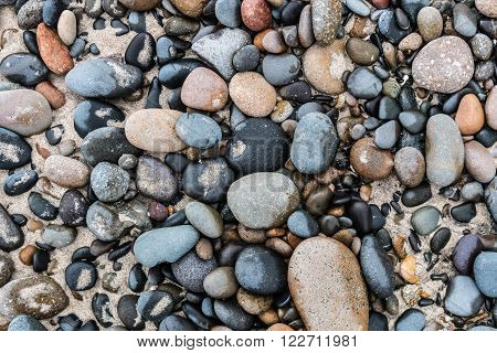 Multiple stones found on the beach at South Carlsbad State Beach in San Diego, California