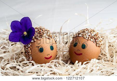decorative Easter eggs handmade boy and girl