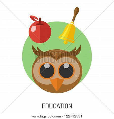 Education Flat Icon Set for Flyer, Poster, Web Site Like Owl, Apple and Bell.