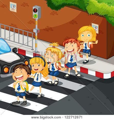 Students crossing the road illustration