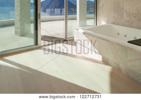 Interior,  wide room with marble bathroom modern design