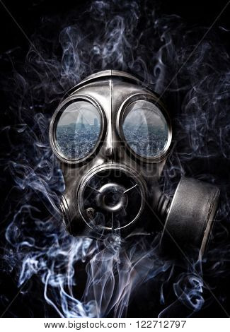gas mask and smoke background