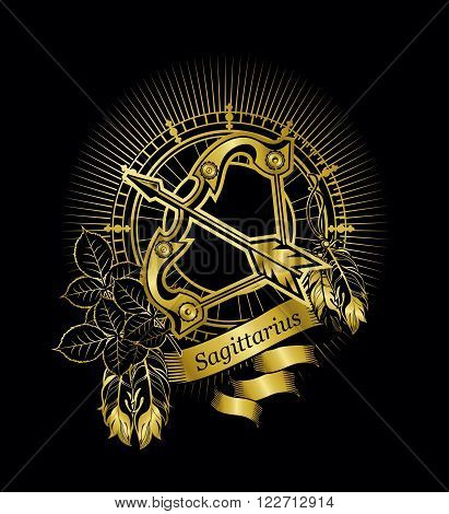 vector illustration Sagittarius horoscope in a vintage frame on a black background gold