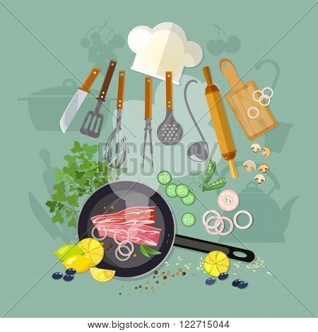 Cooking top view fry the meat in a frying pan kitchenware cook hat vector illustration