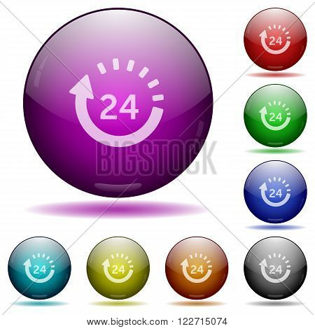 Set of color 24 hour delivery glass sphere buttons with shadows.