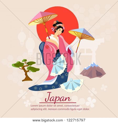 Japanese Geisha Japanese culture and tradition vector illustration