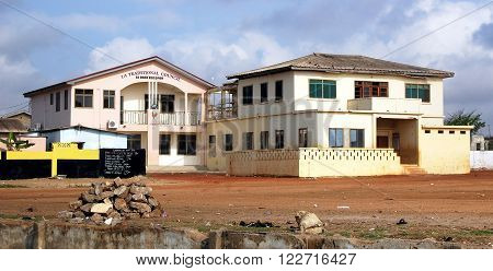 Accra. Ghana - September 17 2013: The image shows an urban view with old houses in developing countries of West Africa.