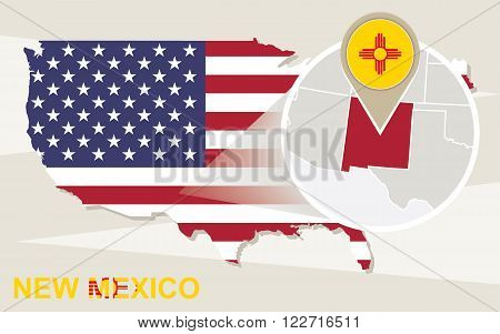 Usa Map With Magnified New Mexico State. New Mexico Flag And Map.