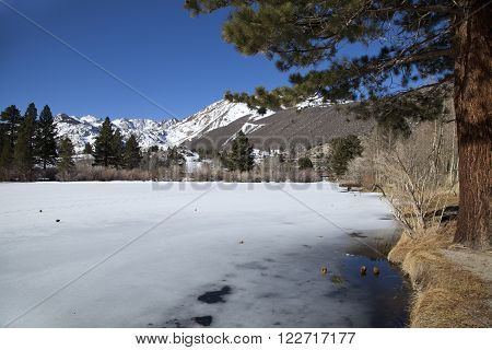 Frozen Intake lake II near Bishop in California