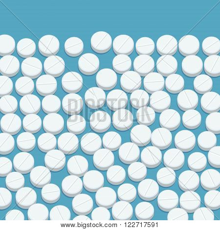 Pills. White medical pills on blue background. Flat design, vector illustration.