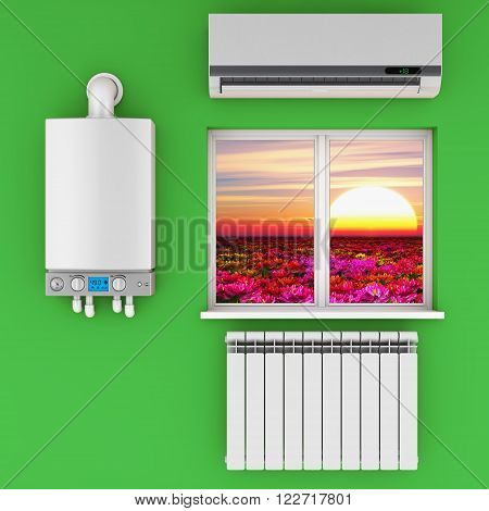 Climatic equipment on the wall near a window.