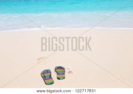 Multicolored flip-flops on a sunny beach. Tropical beach vacation and travel concept