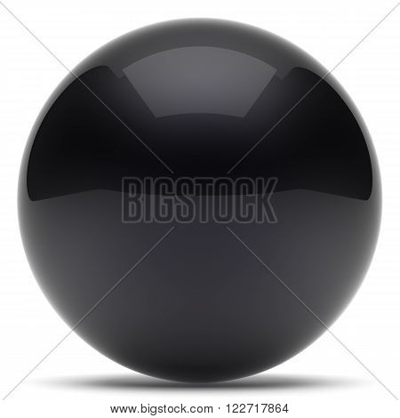 Sphere ball geometric shape button round basic circle solid figure simple minimalistic element single black dark shiny glossy sparkling object blank balloon atom icon. 3d render