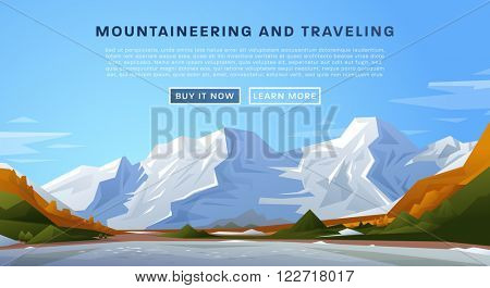Mountaineering and Traveling Vector Illustration. Landscape with Mountain Peaks. Extreme Sports, Vacation and Outdoor Recreation Concept