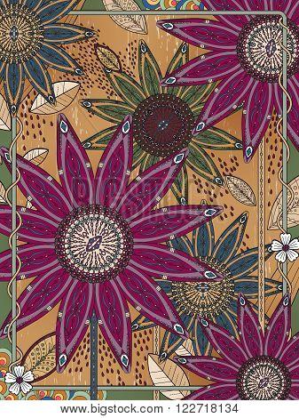 Attractive Floral Coloring Page
