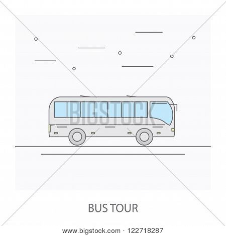 Bus tour. The image of the bus traveling on the road.