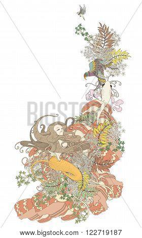 Attractive Mermaid Coloring Page