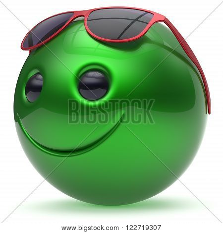 Smile face green cheerful head ball sphere emoticon cartoon smiley happy decoration cute red sunglasses. Smiling funny joyful person laughing joy character toy avatar. 3d render
