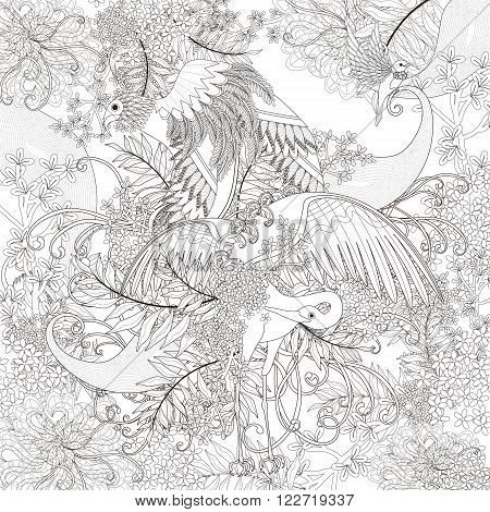 beautiful flying bird coloring page with floral elements in exquisite line